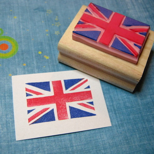 Hand carved Union Jack rubber stamp by Skull and Cross Buns