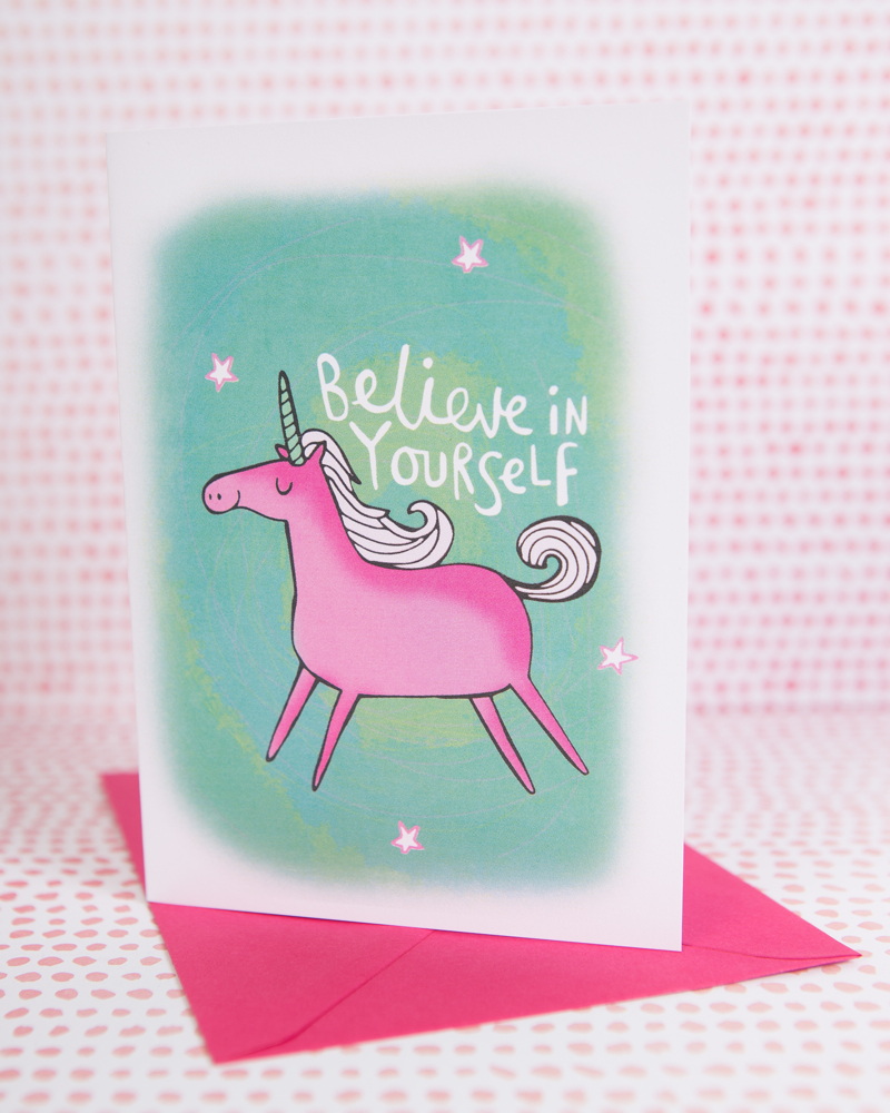 Believe in yourself card, unicorn card, confidence card, Katie Abey,