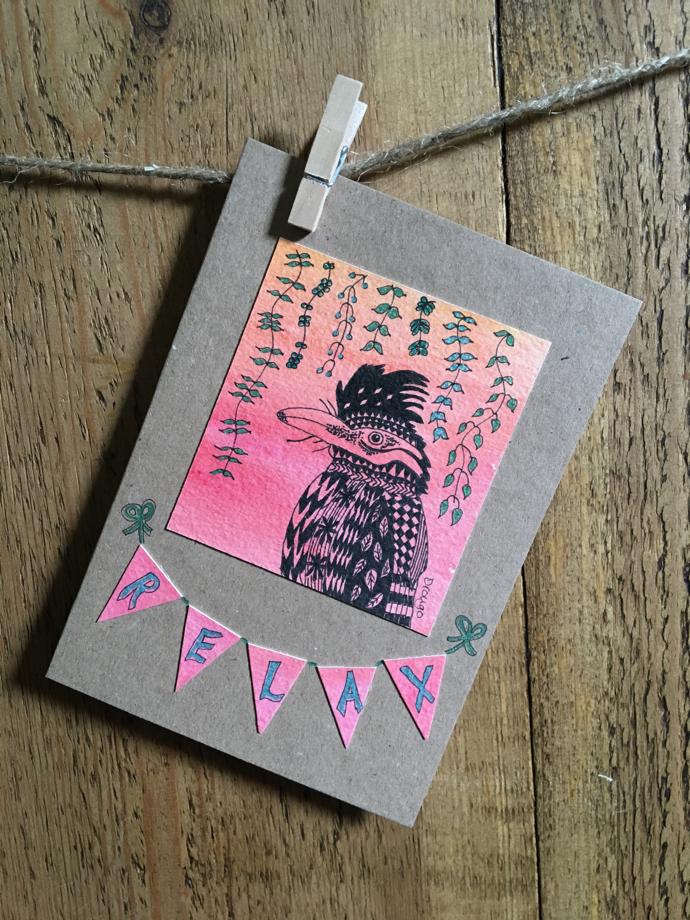 Drongo Greetings Card, relax greetings card, lapwing lane,