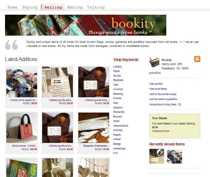 Folksy shop fron bookity
