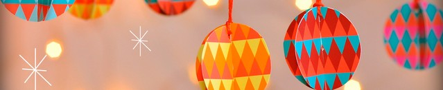 DIY baubles, paper baubles, Bread and Jam, geometric Christmas