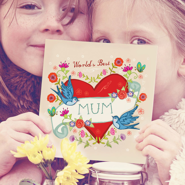 world's best mum card, illustration, british, swallows, hearts, Artwork by Angie
