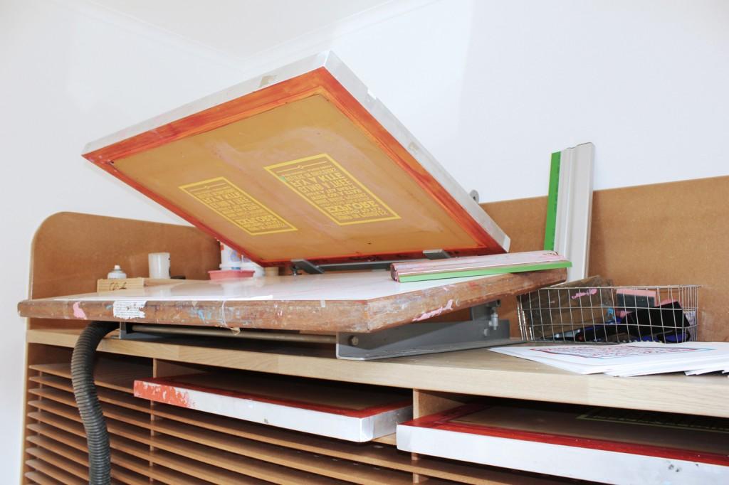 chatty nora screen printing, printing press, bespoke screen printing table, bespoke screen printing press, studio