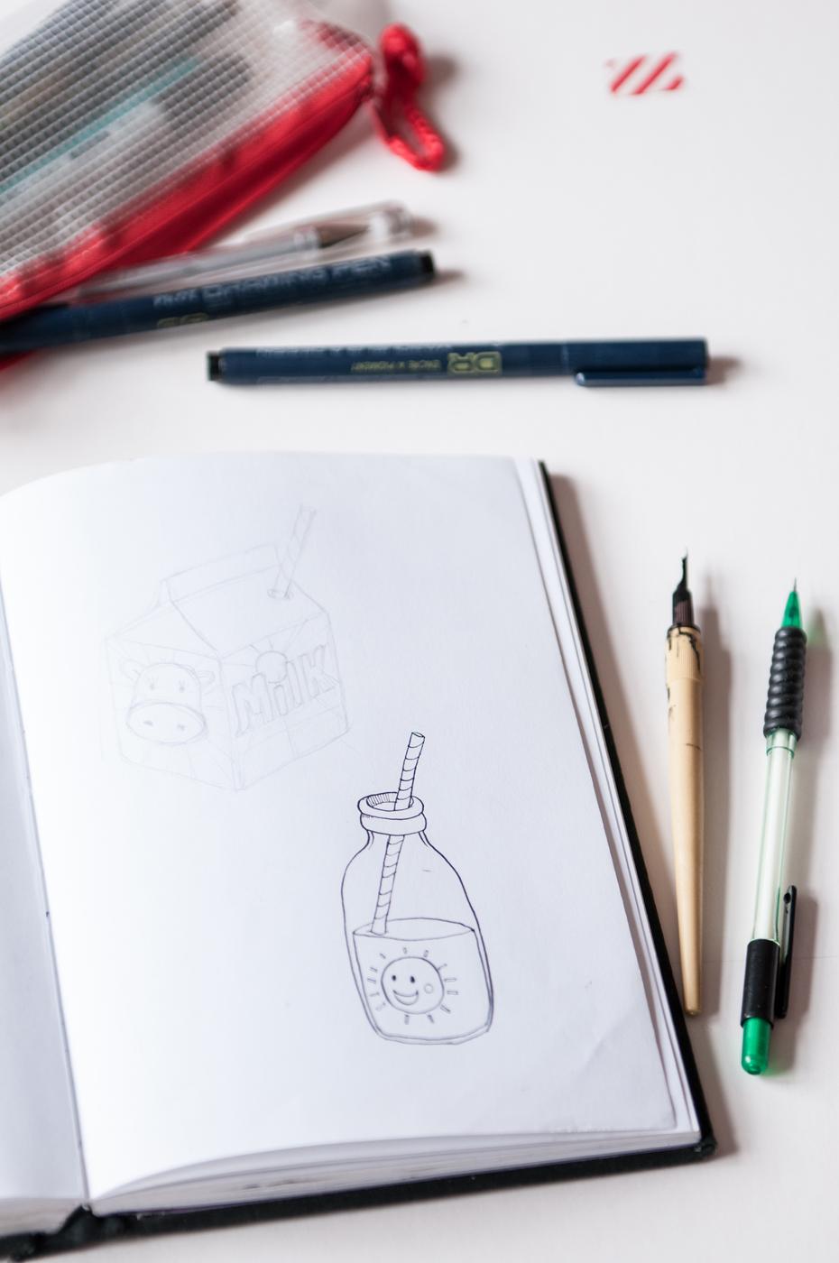 sketch, milk, children's, retro