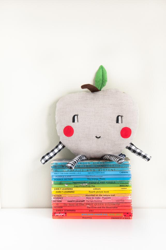 apple cushion, linen, children's deco