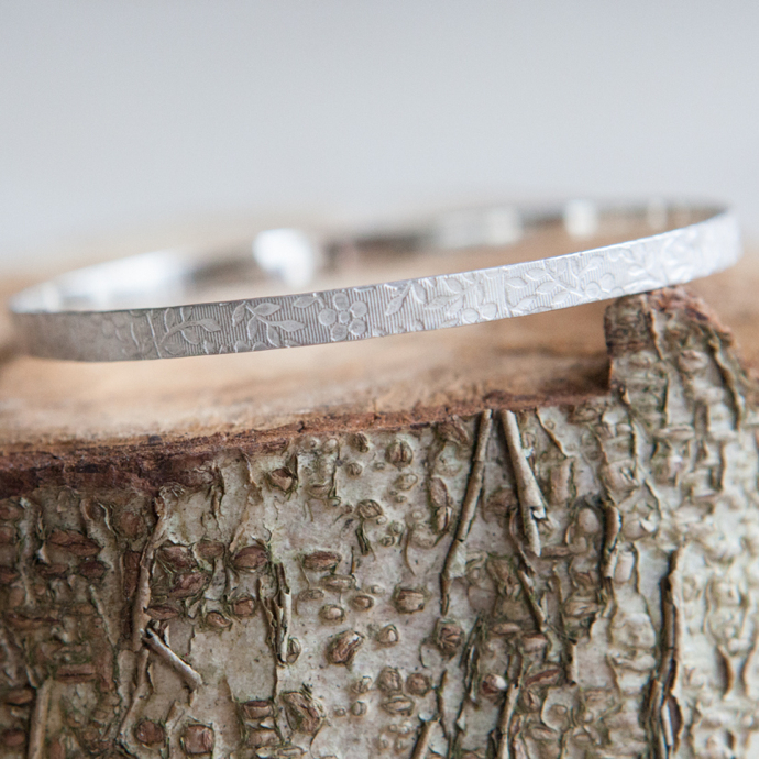 silver wedding bangle, floral wedding jewellery, handmade wedding jewellery, floral bracelet, ean jewellery, Elizabeth Anne Norris