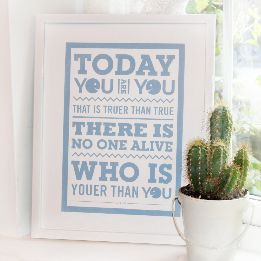 chatty nora, today you are you, dr suess, screenprint