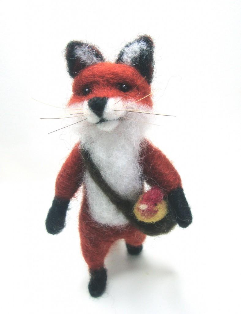 needle felt fox, easter chick, easter decoration ideas, fox, craft, madame craig,