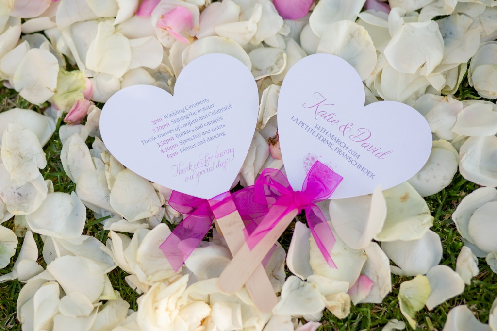 heart shaped fans, wedding programme, order of service cards,