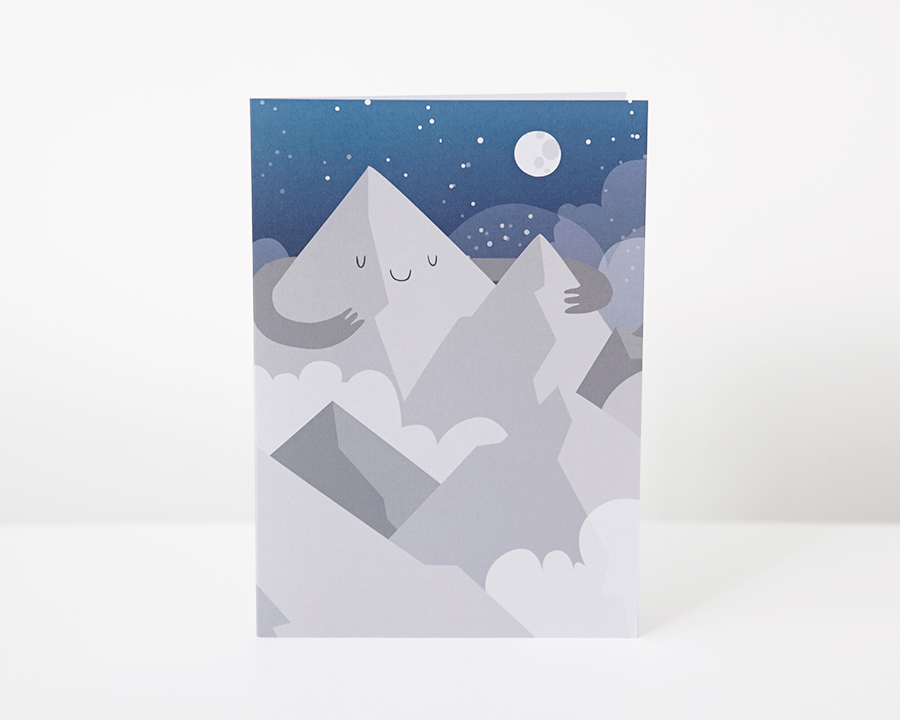 happy mountain greeting card, pygmy cloud, photographing cards