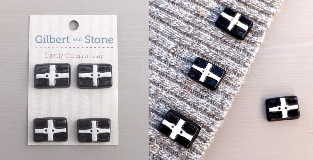 st piran's cornish flag buttons, cornwall flag buttons, handmade
