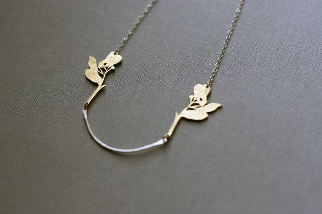 Frinn branch necklace, meet the maker interview, jewellery, UK jeweller, gold, unique, handmade