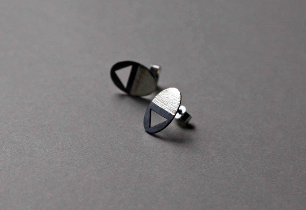 Circle and Triangle Earrings, Frinn, UK jewellery