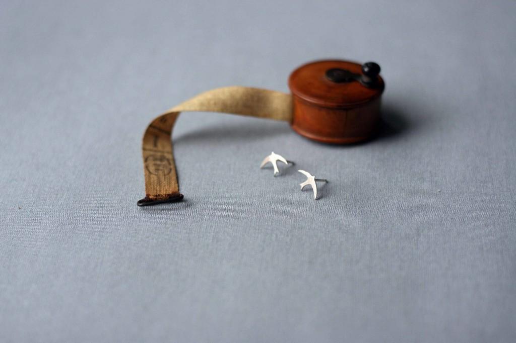 Silver Swallow Earrings, Swallow Studs, Silver, UK
