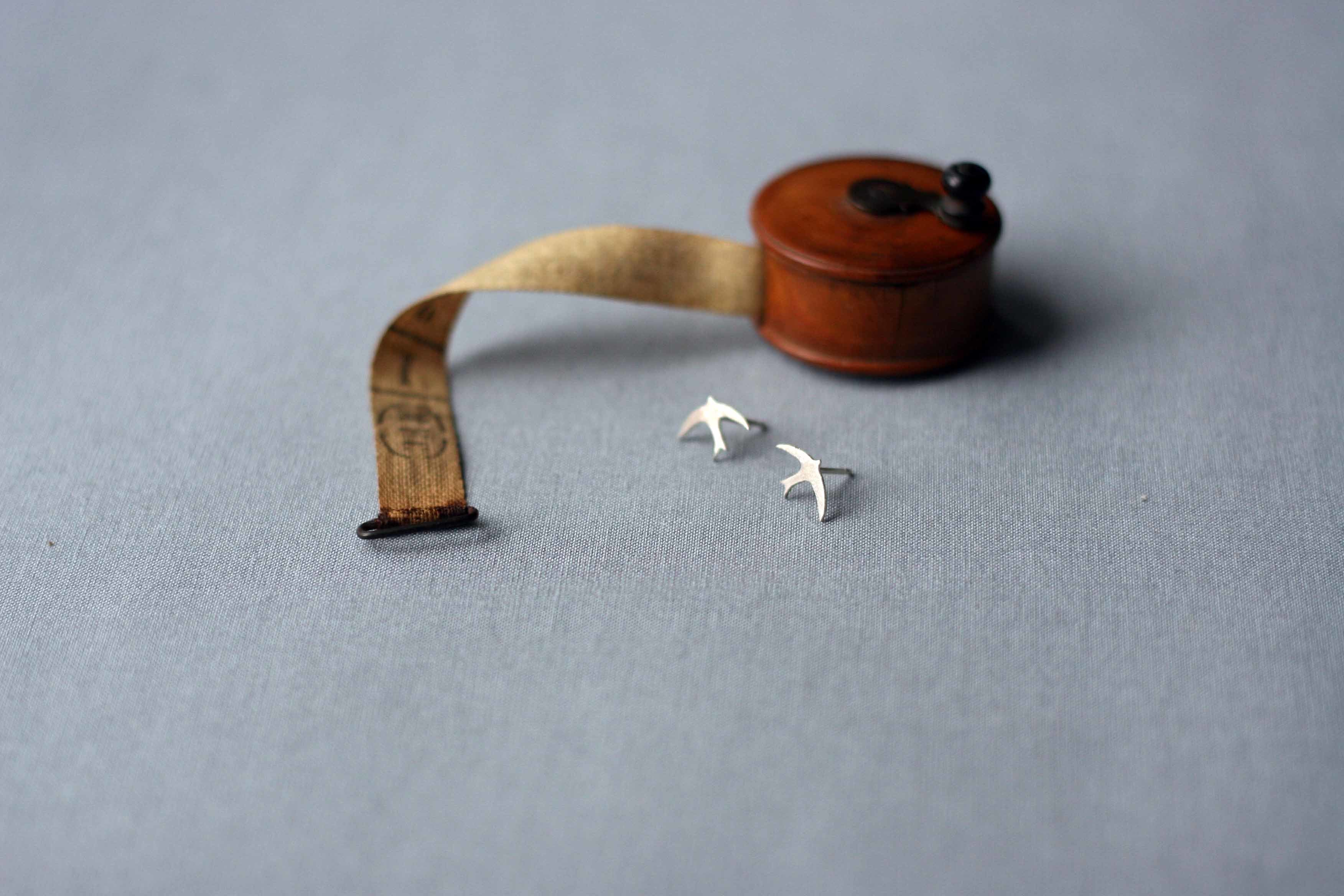 Silver Swallow Earrings, Swallow Studs, Silver, UK