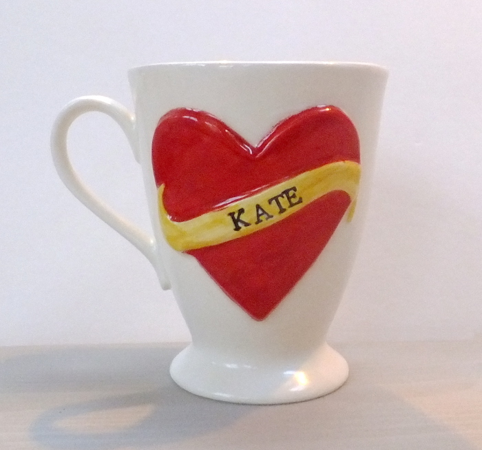 tattoo mug, personalised tattoo inspired heart mug, gilbert and stone