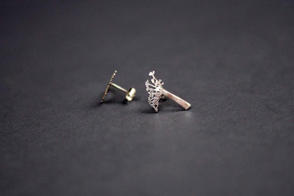 Cow Parsley earrings, Frinn, silver, handmade uk.