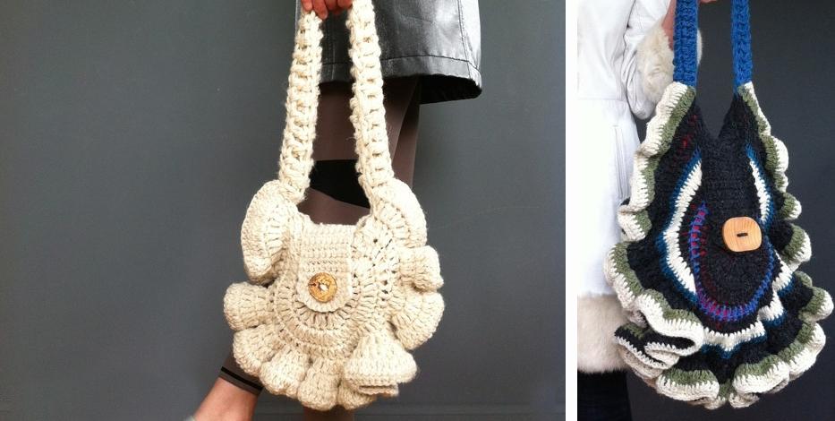 crocheted mushroom bags, design, Scottish designer, yarn, Julie