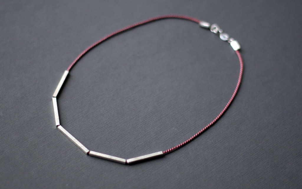 silver and silk necklace, Frinn, interview