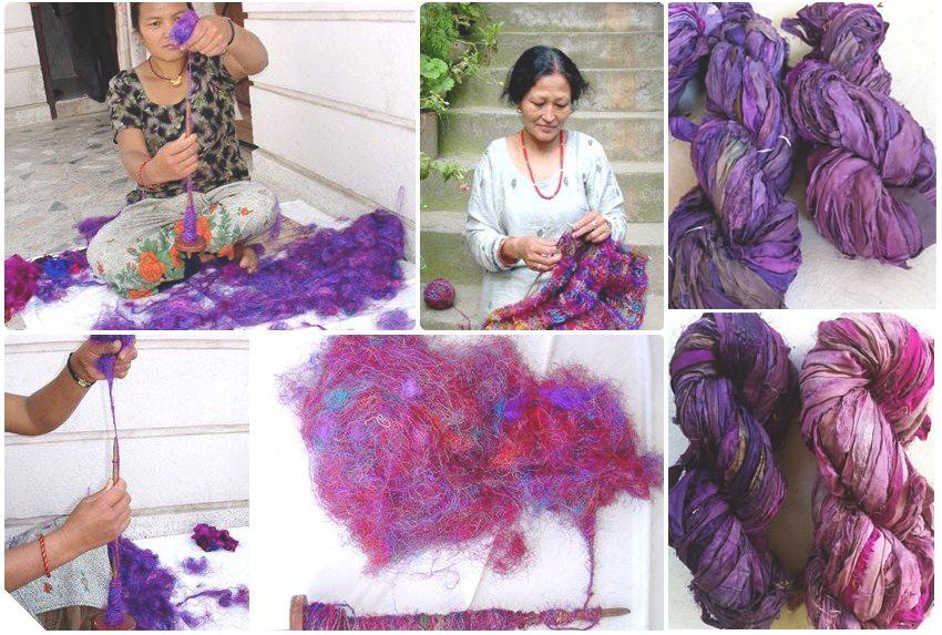 yarn production, India, rural, sari silk