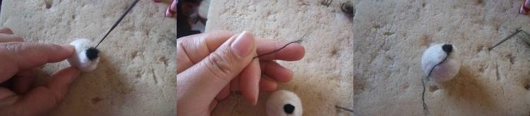 needle felt tutorial, panda