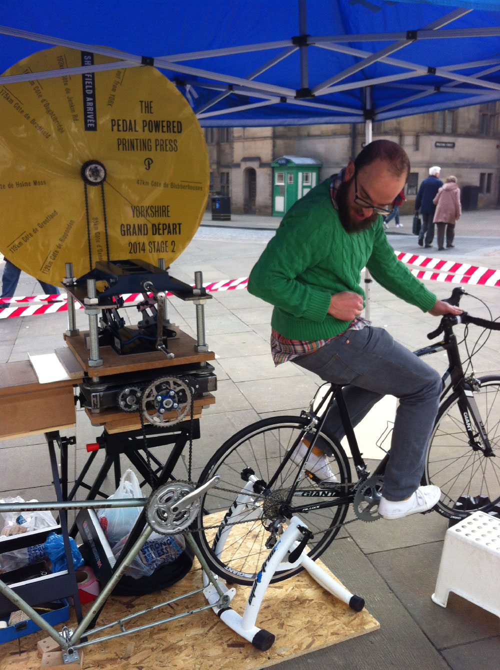 pedal powered printing press, sheffield letterpress, grand depart, le tour yorkshire
