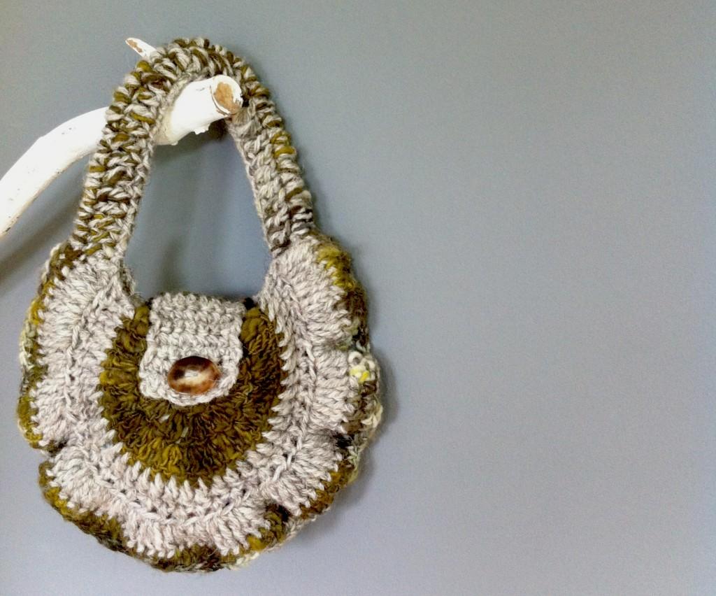 Handcrafted crochet bag, rare breed Orcadian aran and kid mohair, fibre art, crochet mushroom