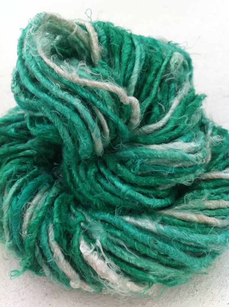 Yarn yarn, banana fiber yarn, Apple Green and white, craft supplies, crochet