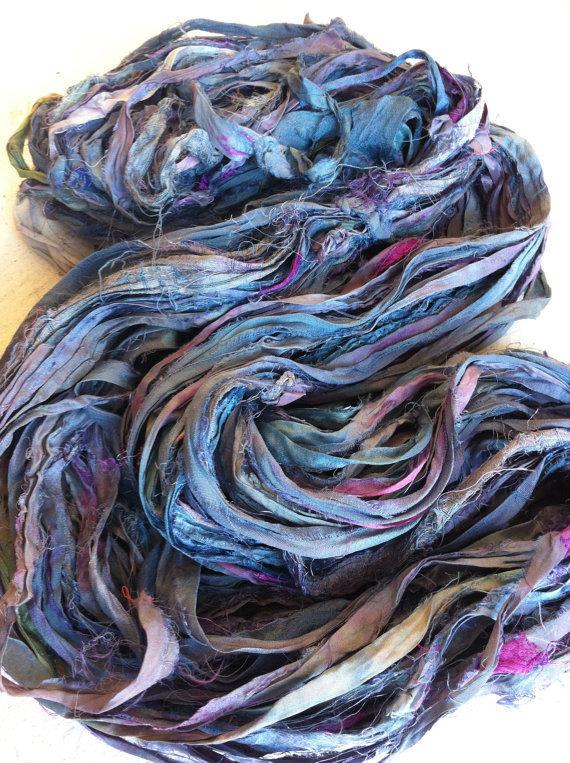 recycled sari yarn, silk, ribbon, rural india, women's co-operative, uk import, yarn yarn, blues,