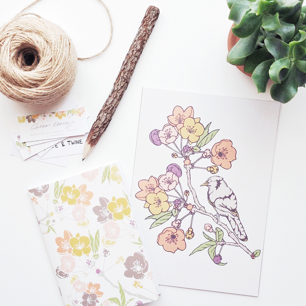 Caren barry, birds, nature, surface pattern design, floral patterns, bird prints, stationery, uk