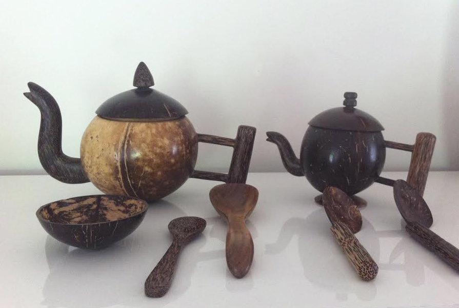 coconut teapots, artisan, recycled coconut