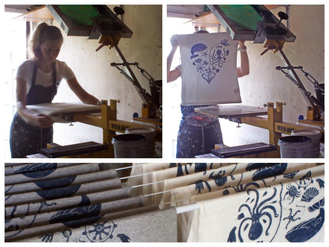 Mellybee interview, melanie chadwick, cornish artists, cornish illustrators, cornwall, screen printing, studio tour, printing tshirts,
