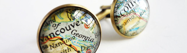 Map cufflinks by Bookity.folksy.com