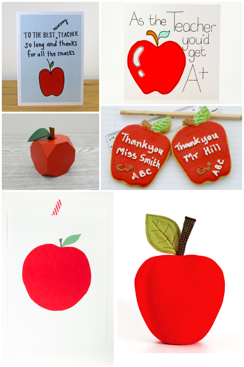 An apple for teacher say thank you with a hand picked for Thank you crafts for teachers