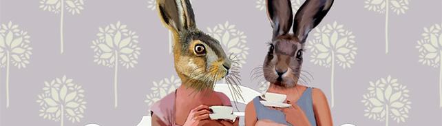 Rabbit Chat print by LoopyLolly.folksy.com