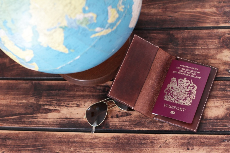 leather passport holiday, sail, sail leather, handmade passport holder, british craft,