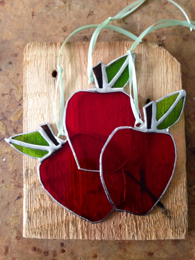 Stained glass apple, gift for teachers, jenny newall, contemporary stained glass, uk, british stained glass designer