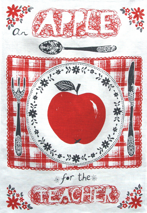 beetroot press, gifts for teachers, screen printed in the uk, uk craft, apple art