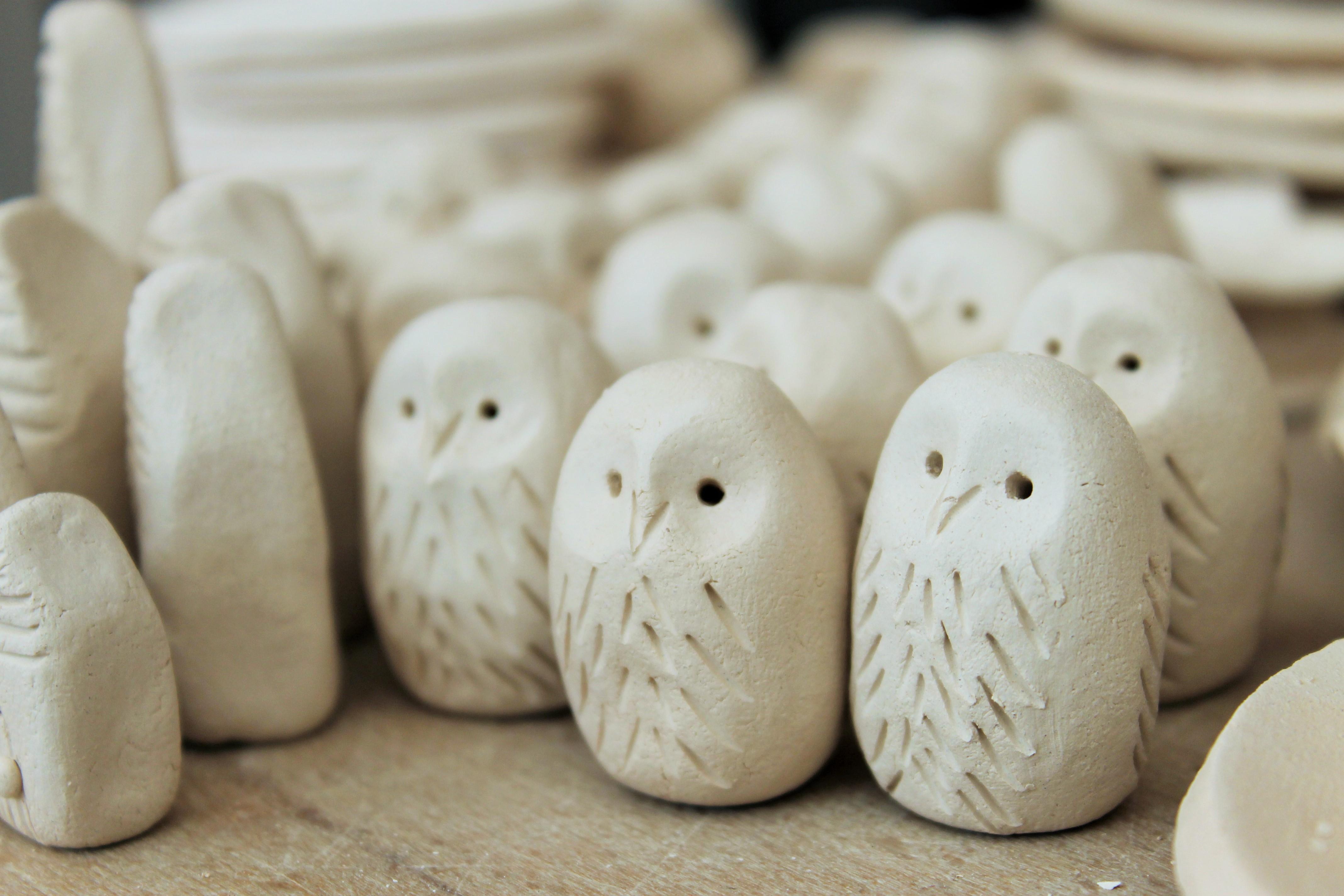 ceramic owls, miniature owls
