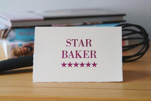 Star Baker handmade Letterpress card
