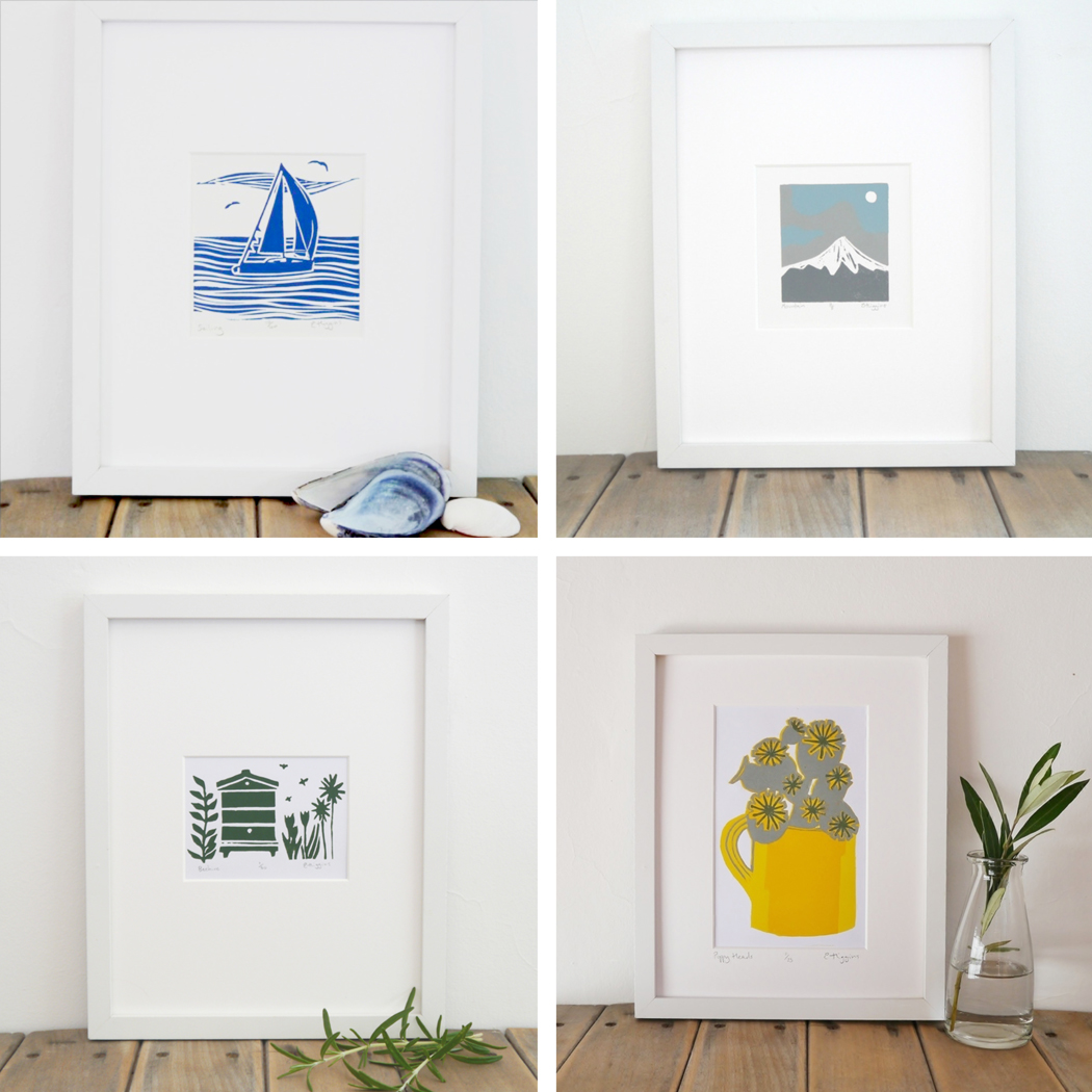 Emma Higgins, photographing prints, devon prints, devon linocuts, devon printmaker