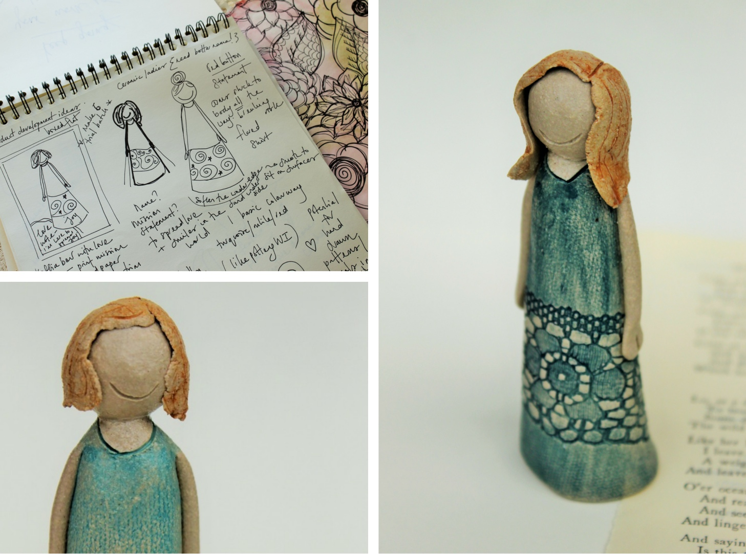 ceramic sculpture, happy lace dress lady, jessica catherine, british ceramicist interview