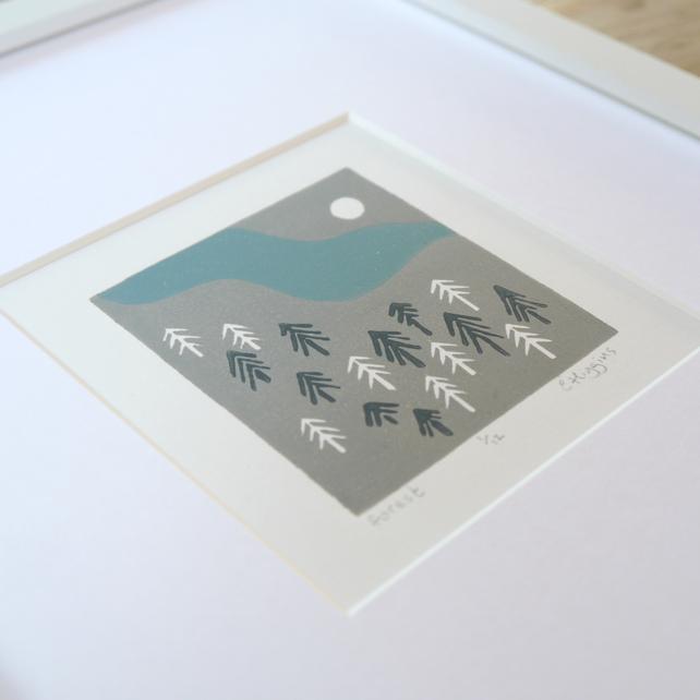 blue ridge mountains, virginia, forest lino print, billet doux