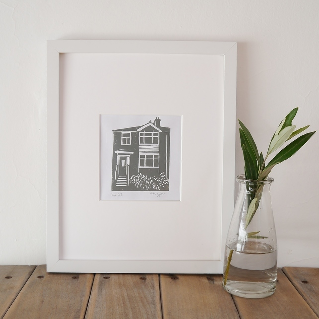 custom print of your house, billet doux, billetdoux, emma higgins, linoprint of your house