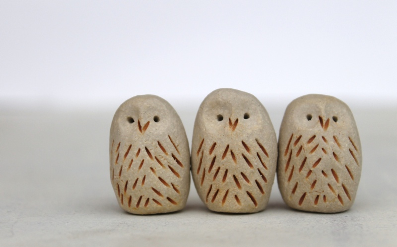 A hootery of Jessica's ceramic owls, priced £4 each