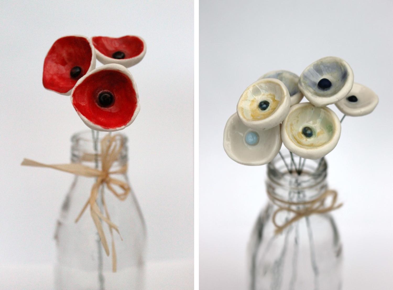 porcelain poppies, jessica catherine, ceramic flowers