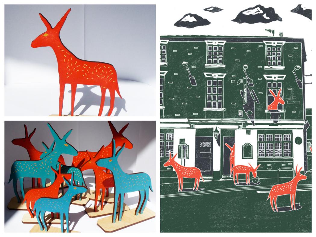 james green donkeys, lino print, wooden, pub scrawl