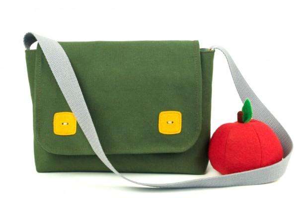 handmade messenger bag kids, uk, beledien, melanie commins, khaki green, yellow buttons