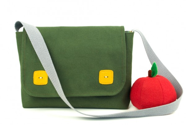 handmade messenger bag kids, uk, beledien, melanie commins, khaki green, yellow buttons