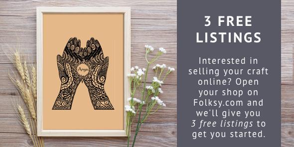 3 free listings, folksy